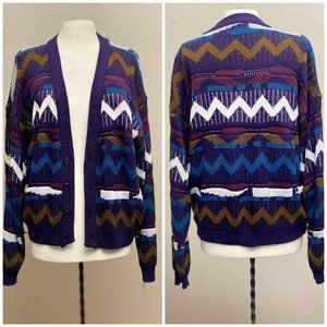 Abstract Color Cardigan Vintage 90s, Acrylic